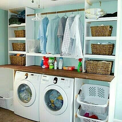 I like the simplicity in this space and the setup make this another great example for a DIY farmhouse laundry room decor