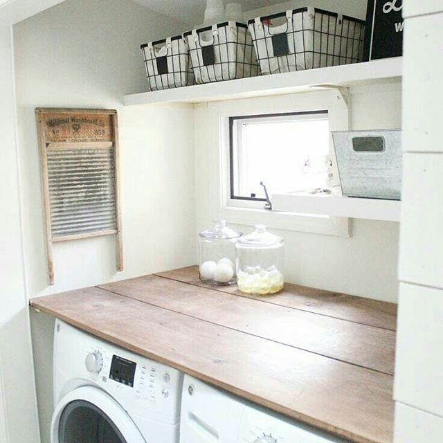 What a great example for how little you actually need to create a perfect small farmhouse laundry room