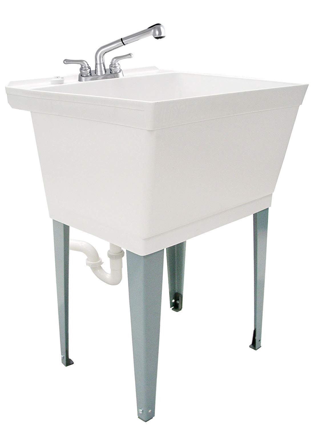 WORK DOESN'T STAND A CHANCE WITH THIS CLASSIC WHITE UTILITY SINK. Adds practicality to any laundry room, mudroom, washroom, service closet or workshop. Match your white washer and dryer or lighter decor. Complete tub kit includes white tub, non-metallic double handle pull out faucet, adjustable leveler legs, stainless steel supply lines, PVC pipe drain connection with p trap, thread tape, washers, nuts and rubber drain stopper plug. STREAM OR SPRAY PULL OUT FAUCET INCLUDED offers even more uses for the tub. Use as a slop sink and hose down soiled play clothes or filthy job uniforms before washing. Fill a cleaning bucket with hot water without having to hold the heavy pail up to the faucet. Or use as a small dog grooming bathtub. Adjust the foot levelers to the perfect height and level the tub on bumpy or uneven surfaces. Perfect for an unfinished basement or garage. MULTI PURPOSE FOR HOME OR COMMERCIAL USE. Functions perfectly as the traditional place to drain overflow water from your washing machine or the spot to quickly drop in a dirty mop, cleaning brushes and rags. Stage your clean ups and fix your worst messes. Small ledge on the faucet side can be a shelf or holder for a sponge, bar of soap or other cleaning product. It's a great complement to a remodelling job or light construction. VIRTUALLY INDESTRUCTIBLE LAUNDRY TUB DESIGN with molded in drain. Made from heavy duty thermoplastic. Rust and stain resistant for your dirtiest jobs. Rugged and meant to fill lots of needs and uses. Base intended to function standalone but if desired can be bolted to the floor using pre-cut holes at the bottom of the leg levelers. Floor mount and wall mount hardware is not included. STRAIGHTFORWARD SET UP AND INSTALLATION: Easy to assemble and install with clear illustrated step by step instructions. Installed dimensions are 22 7/8 inches wide, 23 3/8 inches deep, 33 3/4 inches high (with legs). Part number 040 JS6000. Limited one year warranty.