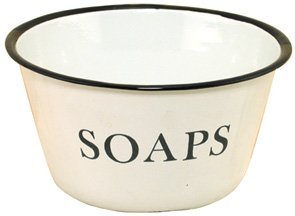 """Our Enamelware Soaps Bowl is a cute vintage look bathroom accent. You can fill it with sweet smelling guest soaps, potpourri, or use to hole cotton balls, Q-Tips and more. This enamelware bowl is 2-3/4"""" high and has a diameter of 6"""". Distressed finish with blue and black trim and the word SOAPS on the side of the bowl."""