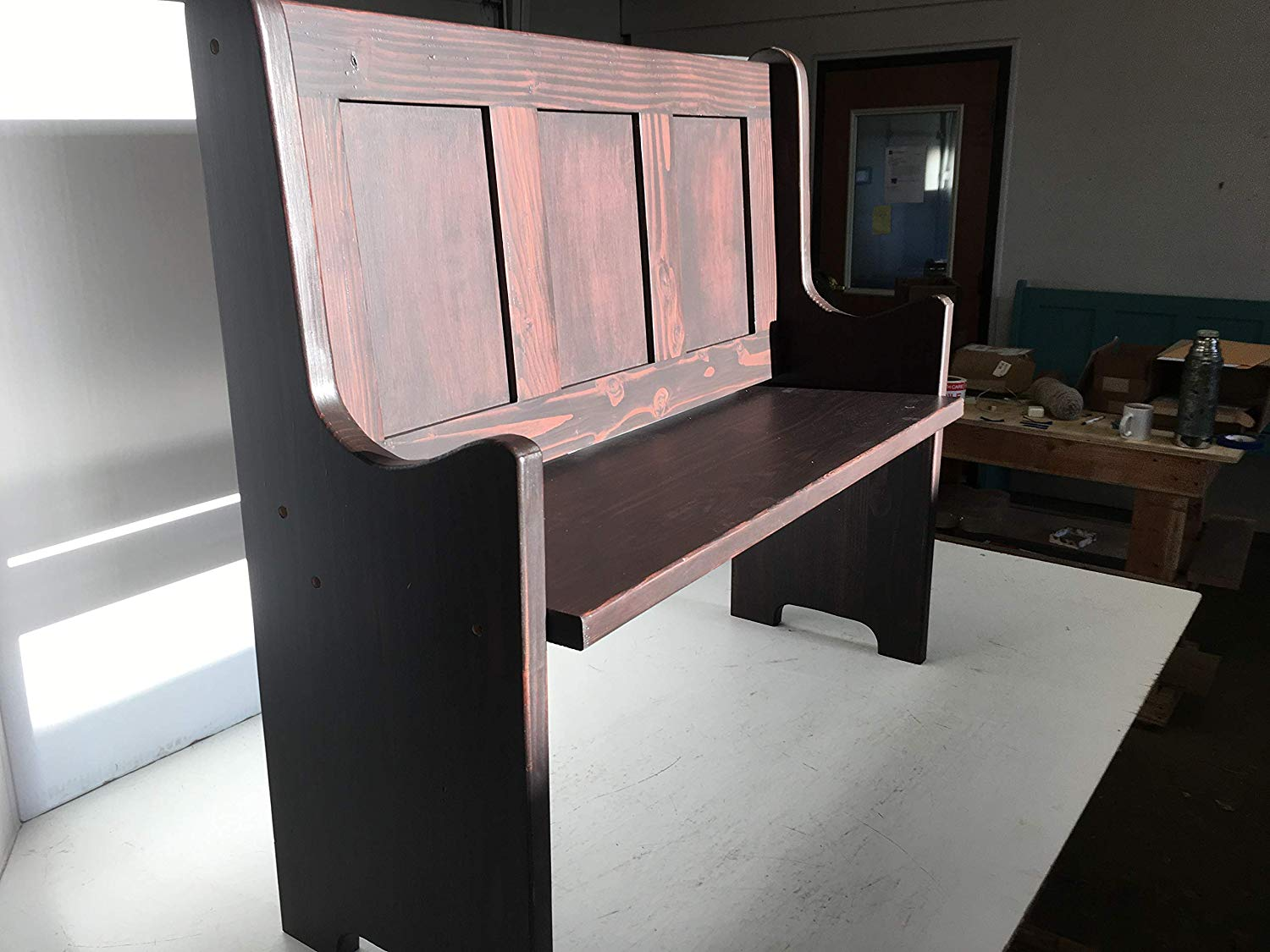 Farmhouse Entryway Bench   Shaker design all function wood bench we call a seat bench. Made from pine and fir and hand stained or painted a color of your option. See the color chart choice of colors in our images and include your option in your order.