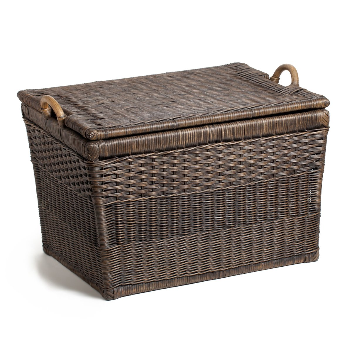 "farmhouse decorating guide tip Farmhouse basket  This elegant lidded storage basket could really be called a covered storage trunk with a lift-off lid and has a generous dimension great for farmhouse bedding or spare linen storage. The exterior features three different styles of basket weave over a sturdy pole frame and durable wood bottom. Can be stacked or used individually. Covered storage containers are handcrafted by artisans in Indonesia and are made of natural rattan. Each covered storage box includes one removable fabric liner. Large Antique Walnut Brown Finish (24.5""L x 18""W x 17.5""H)"