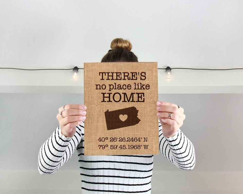 Theres no place like home | Latitude Longitude GPS Coordinates | 100 percent Burlap or Canvas Anniversary Gift | Where We Met | Wedding Location here it all began with the Latitude Longitude GPS Coordinates of your State. Makes a great anniversary, House Warming, Closing Gift or Wedding gift for the perfect couple. 100% natural burlap or Ivory Burlap. A perfect sentimental gift for your sweetheart! ♥♥ORDERING♥♥ ✽ Choose The STATE you would like converted for the GPS Coordinates ✽ Choose the material for your print, Natural Burlap or Ivory Burlap ♥♥DESCRIPTION♥♥ - Printed on 8 inch x10 inch Burlap with laminated backing, This Fine art Burlap Print will be a conversation piece in your home or office. Our affordable prints are perfect for: ♥ Wedding gift ♥ Mothers Day Gift ♥ Birthday gift ♥ Housewarming gift ♥ engagement gift ♥ Parent & Grandparent gift Frame is NOT Included. Print will fit into a Frame that will fit a 8inch x 10 Inch Photo.