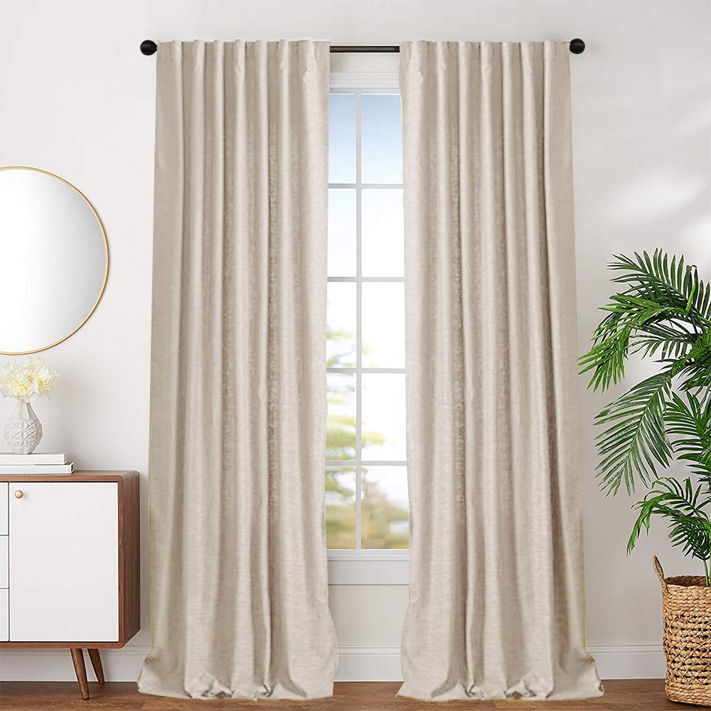 jinchan Beige Cotton Curtains for Bedroom Solid Cotton Curtains 63 inches Long Window Curtain Panels for Living Room Rod Pocket 2 Panels