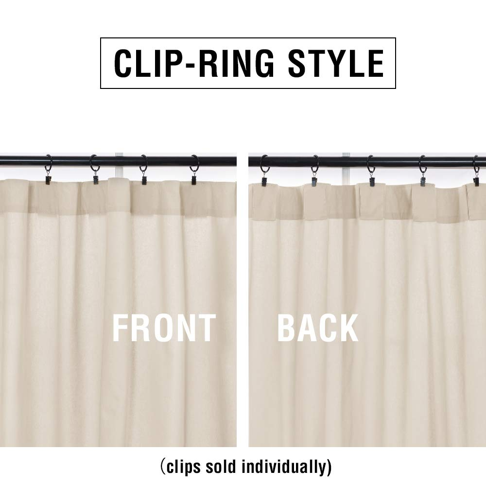 "Clip Ring Style - Clips sold separately   Fabric Type:100% Cotton. Ready Made: Set contains 2 Panels. Set Measurements: 108""W x 63""L; One Panel Measurement: 54""W x 63""L. Light Reducing: These curtains allows for privacy while allowing some light to filter through. Enjoy your favorite show with no glare on your screen. Easy Care: Machine washable in cold water, gentle cycle, tumble dry low. light iron if needed."