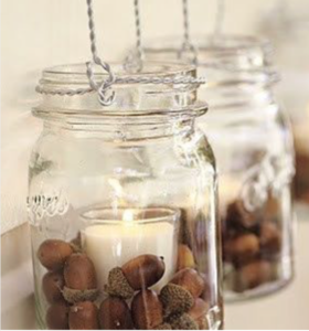 Acorn Mason Jar Candleholder (source unknown) Home Fall Decorations Home Fall Decorations