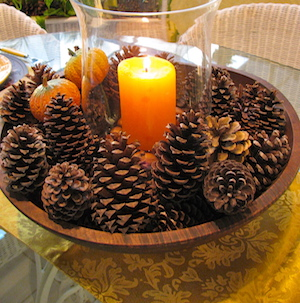 Pinecone Candle Centerpiece Fall Decorating Ideas - from Rita May Days Home Fall Decorations