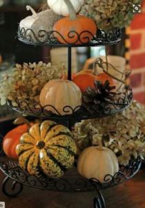 Pumpkin Basket (source unknown) Black Fruit Basket (Thrift Store – Goodwill – $3) + Polyfoam Pumpkin and Gourds (Dollar Tree or Walmart)