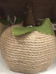Twine Pumpkin  Green Burlap Ribbon (Dollar Tree) + Small Styrofoam Cone (Craft Store – $2) +  Styrofoam Pumpkin (Dollar Tree) + Sisal Rope + Brown Twine (for stem)