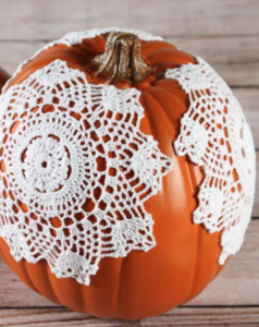 Doily Pumpkin from I Love to Create