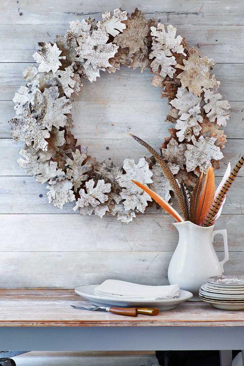 birch bark leaf wreath