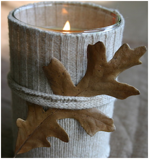 Home Fall Decorations #64 Rustic Sweater Candle Fall Decorating Ideas - from Family Chic. Fall Decor DIY Tutorials
