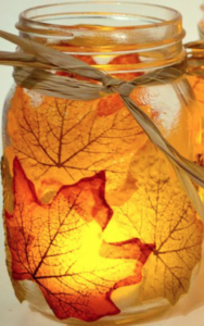 Ideas For Your Fall Decor -  Autumn Leaf Mason Jar Home Fall Decorations from Spark and Chemistry