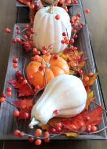 Pumpkin and Fall Berry Tray Centerpiece Foam Pumpkins and Gourds (Dollar Tree) + Fall Berries (Dollar Tree)  + Maple Leaf Pack (Dollar Tree) + Candle Tray