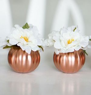 Copper Pumpkins Fall Centerpiece from Up to Date Interiors