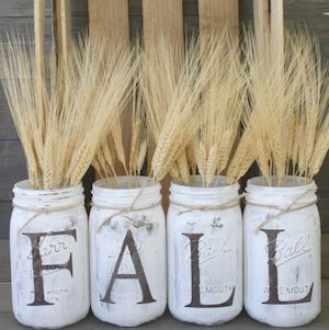 Fall Decor DYI -Rustic Fall Mason Jars Centerpiece from Sincerely Jean
