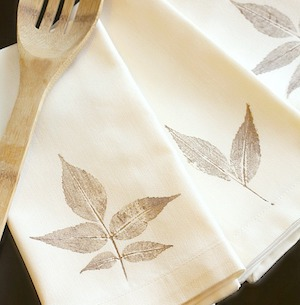 DIY Leaf Stamped Napkins from All Things G&D