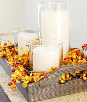 Rustic Fall Tray Centerpiece  from A Pumpkin and A Princess