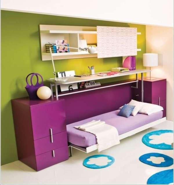 Multifunctional desk/bed furniture with bed setup for teens bedroom design