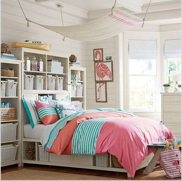 Storage solution for a teens bedroom