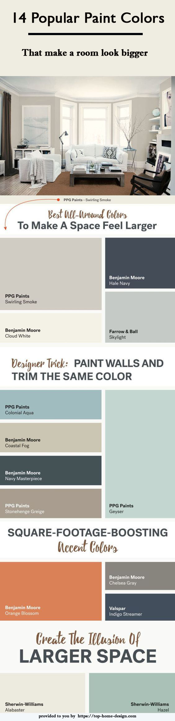 Infographic : 14 popular paint colors that make a room look bigger, provided by:https://top-home-design.com