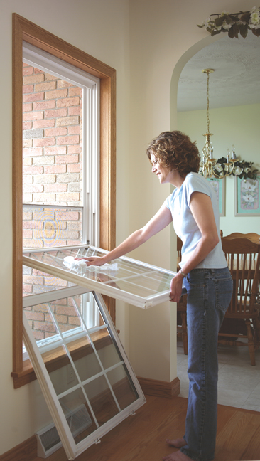 The key advantage of using double hung window replacement is that they are easy to clean on each side as shown in the picture above