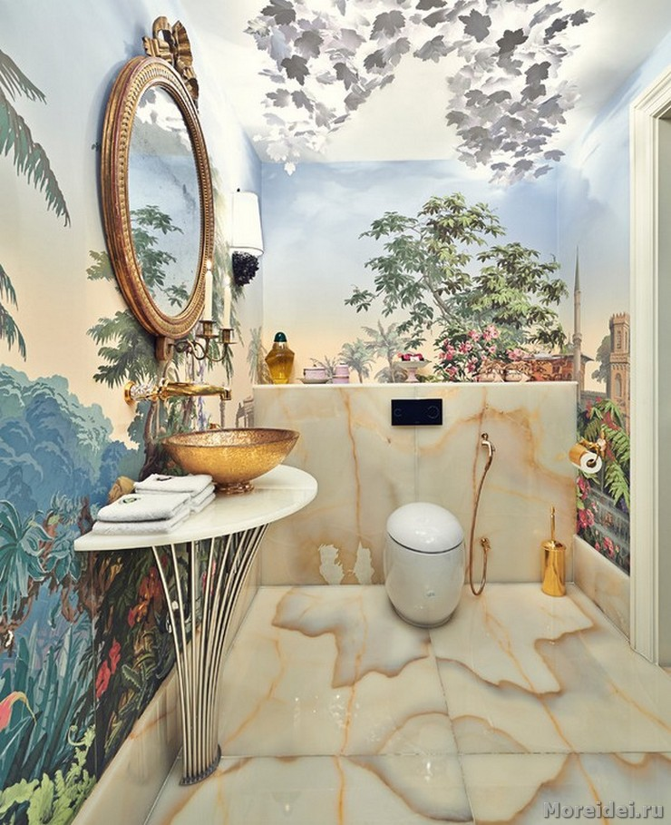 Half A Bathroom in woods decor are Full Of Style