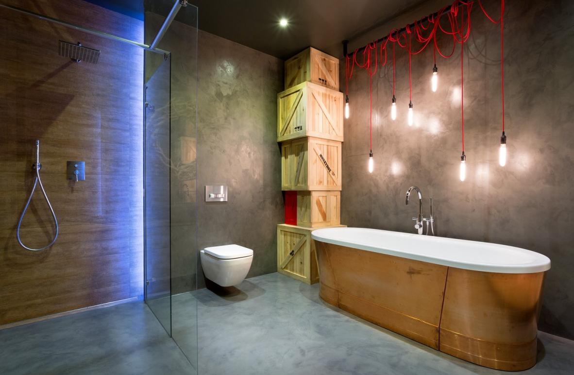 modern bathroom design in semi industrial style