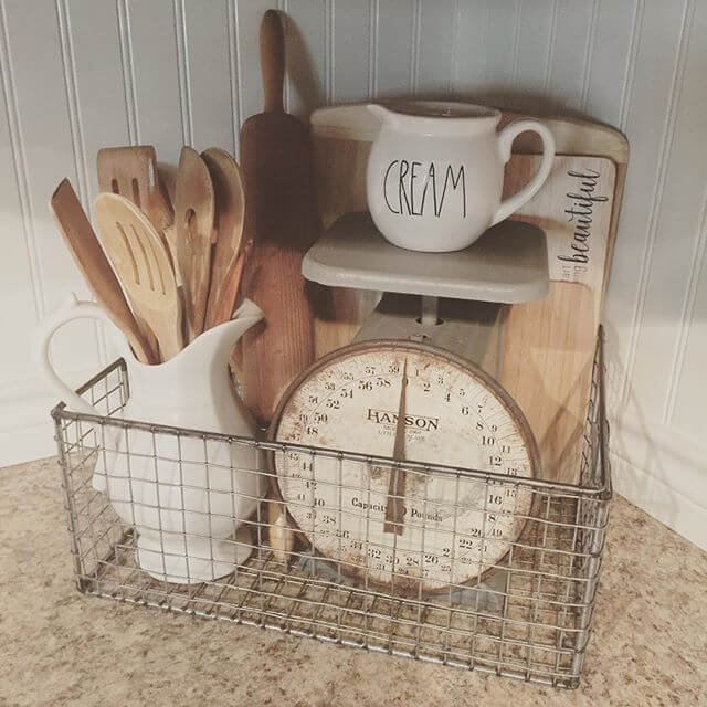 Natural Wood and Ivory Collection in Antique Barn Basket with scale and measuring cup