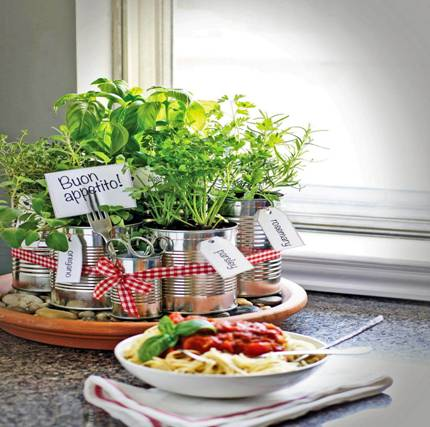 Recycled Coffee Can Kitchen Herb Garden