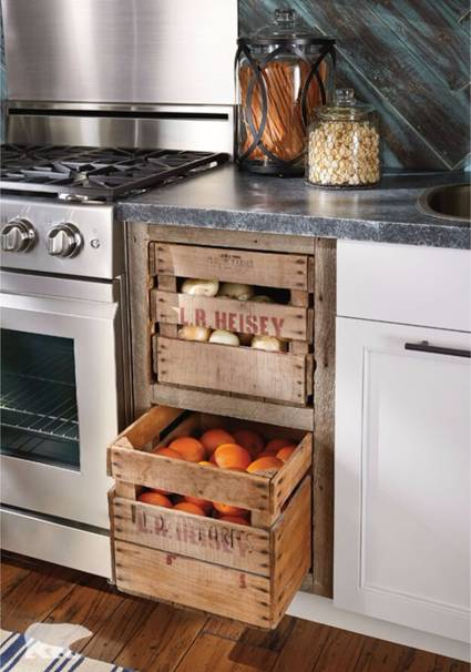 Farmer's Market Storage-Crate As Kitchen Storage Drawers