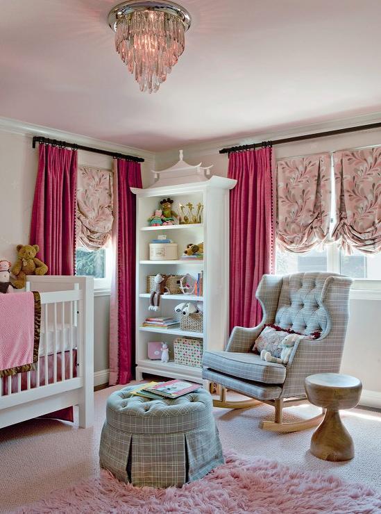 pink-nursery-ceiling-gray-plaid-rocker
