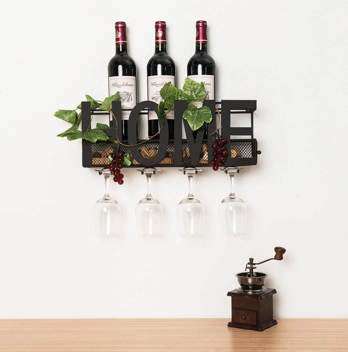 Best Wall Mount Wine Rack Holds 5 Bottles and 4 Glasses - ANNA STAY WINE RACK REPLACEMENT