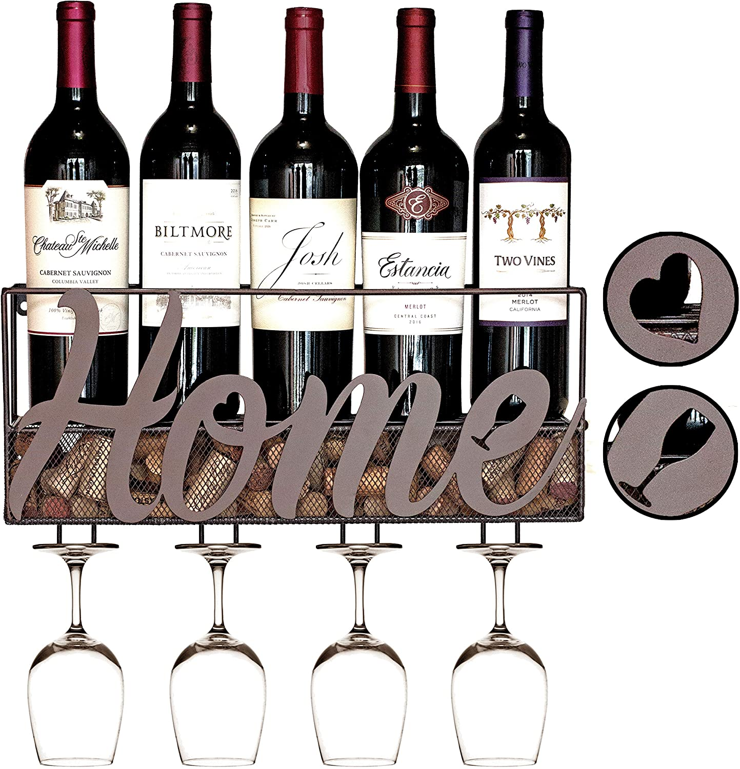Best Wall Mount Wine Rack Holds 5 Bottles and 4 Glasses - HOME
