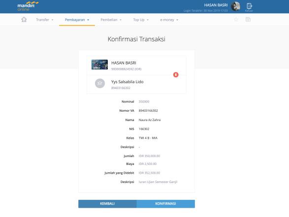 Cara Transfer Dengan Virtual Account Santri 2