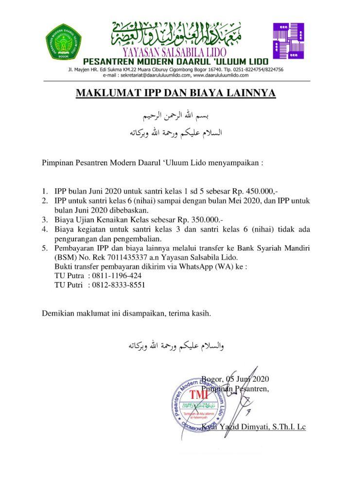 Maklumat IPP dan Biaya Lainnya