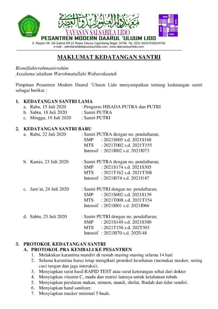 Maklumat Perubahan Protokol Kedatangan Santri