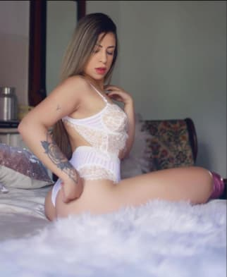 Latino Beauty in White Lingerie
