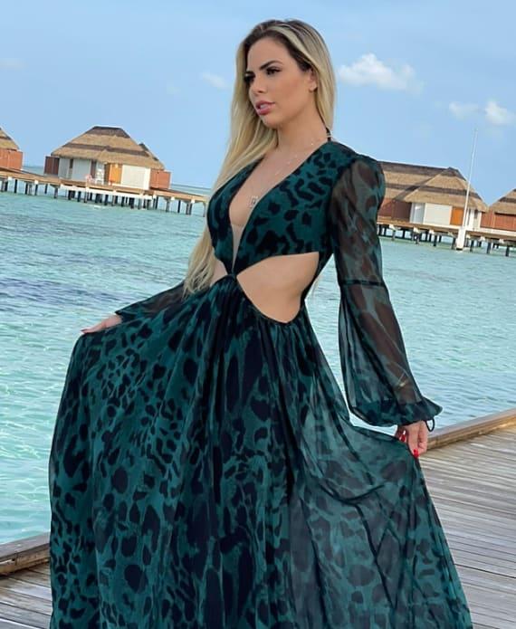 Hot Latino Girl in Full Length sexy dress