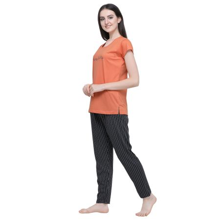 TIRUPATI NIGHTWEAR  Women Striped Orange Top & Pyjama Set