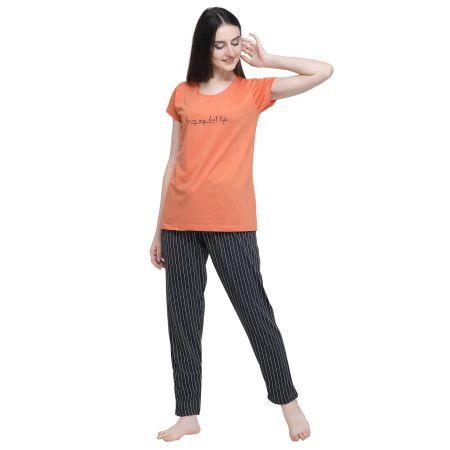 TIRUPATI NIGHTWEAR  Women Striped Orange Top & Pyjama Set