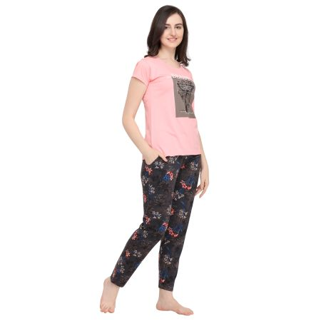 TIRUPATI NIGHTWEAR Female Sleepwear Set Pastel Pink Tee – Charcoal Black Printed Lower