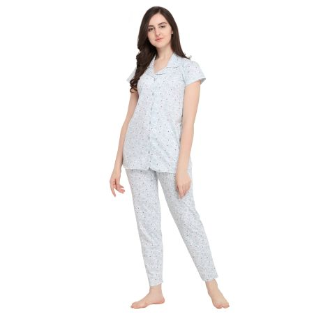 TIRUPATI NIGHTWEAR Women's Pure Cotton Front Open Pastel Night Dress with Print