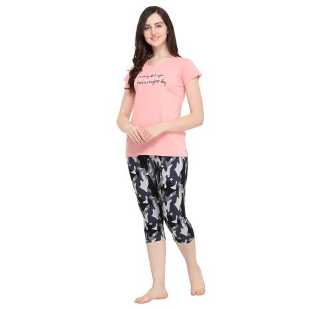 TIRUPATI NIGHTWEAR Nightwear Combo 3Pcs- Baby Pink/Charcoal Grey with Black Shorts