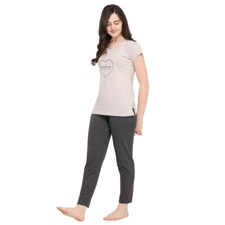 TIRUPATI NIGHTWEAR Female Nightwear Set Light Grey Top – Dark Grey Polka Dot Pyjama