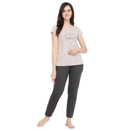 TIRUPATI NIGHTWEAR Female Nightwear Set Light Grey Top – Dark Grey Polka Dot Pyjama