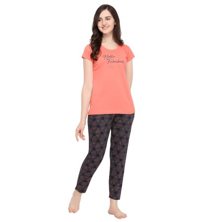 TIRUPATI NIGHTWEAR Female Nightwear Set – Top/Pyjama -Pastel Orange/Space Blue