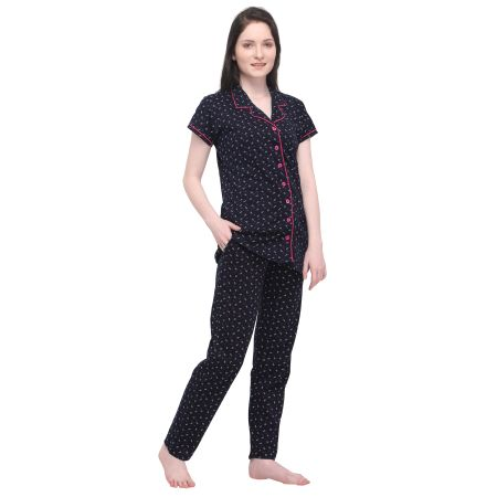 TIRUPATI NIGHTWEAR Women's Pure Cotton Front Open Navy Blue Night Dress with Print