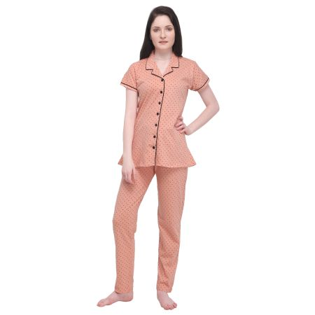 TIRUPATI NIGHTWEAR Women's Pure Cotton Front Open Night Dress with Print