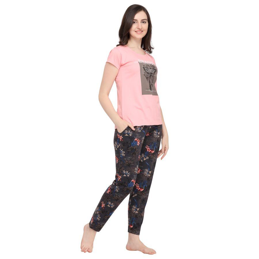 TIRUPATI NIGHTWEAR Female Sleepwear Set Pastel Pink Tee – Charcoal Black Printed Lower